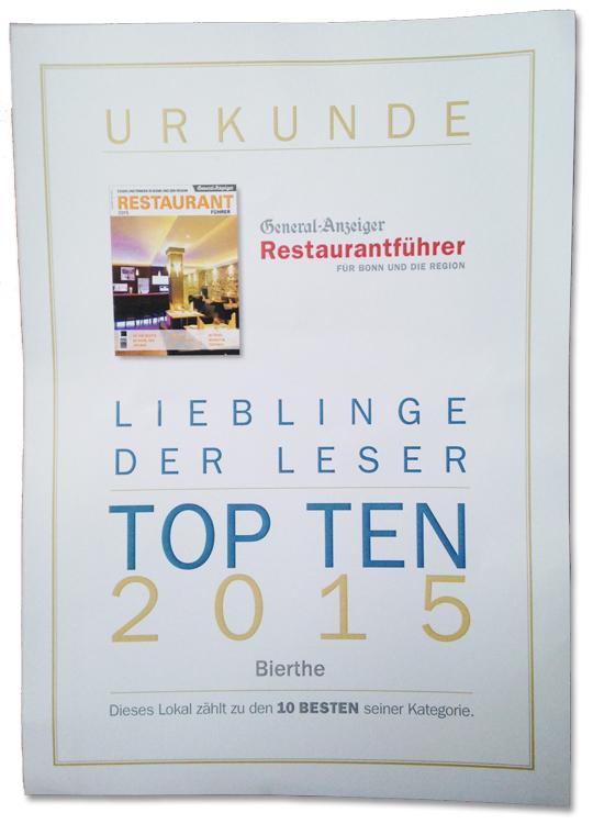 Bierthe ++ Restaurant Troisdorf ++ Auszeichnung General-Anzeiger